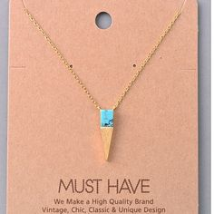 Gold Spike Necklace with Turquoise Marbled Stone Matching bracelet also available in my closet, 15% off bundles! Jewelry Necklaces