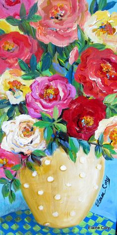 Polka Dot Roses  is an original painting done by me Elaine Cory. It is on a canvas 12 x 24 x 3/4. The sides are painted like the front. It is