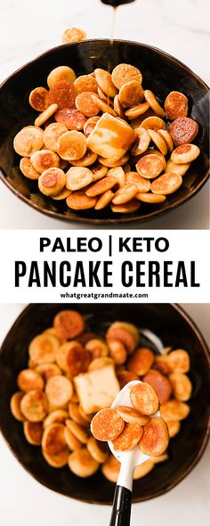 This paleo pancake cereal is a grain free version of the latest quarantine trend from TikTok. These mini cereal pancakes are not only cute and fun but super tasty too! Paleo Recipes Easy, Dairy Free Recipes, Beef Recipes, Low Carb Recipes, Real Food Recipes, Paleo Breakfast, Breakfast Recipes, Dinner Recipes, Ketogenic Breakfast
