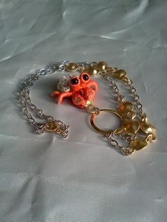 Adorable Red and Gold Polymer Clay Hermit Crab Necklace on Gold and Silver Tone Chain