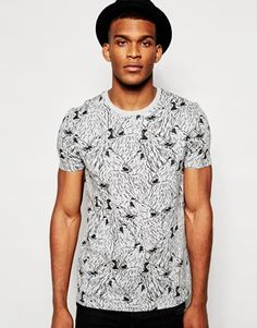 ASOS T-Shirt With All Over Sketchy Wolf Print In Relaxed Skater Fit