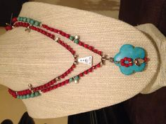 Turquoise and coral and silver. $62