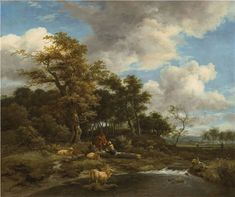 Artwork by Jacob van Ruisdael, A wooded river landscape with shepherds and their flock, Made of oil on canvas Dutch Golden Age, Dutch Painters, Landscape Drawings, Museum Of Fine Arts, Magazine Art, Flocking, Art Market, Oil On Canvas, Amsterdam