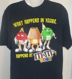 NAVY BLUE M&MS WORLD WHAT HAPPENS IN VEGAS PARTY M&M GRAPHIC T-SHIRT MEDIUM  #MMs #GraphicTee