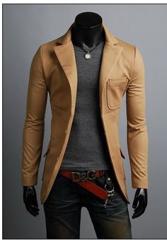 he: Slim Fit Premium Button Jacket Double Pocket Blazer Gq Style, Mode Style, Suit Fashion, Mens Fashion, Fashion Outfits, Korean Fashion, Cool Outfits, Casual Outfits, Men Casual