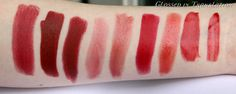 Left to right: Guerlain Rouge Automatique in Samsara, Suqqu Creamy Glow Lipstick #17 Ichijiku, MAC Viva Glam I, Lipstick Queen Medieval, Lavshuca Dramatic Memory Rouge RD-2, Armani Rouge d'Armani 400, Laura Mercier Stickgloss in Poppy, Beauté Liqui-Gel Stain in Fever, Yves Saint Laurent Glossy Stain #10 Rouge Philtre