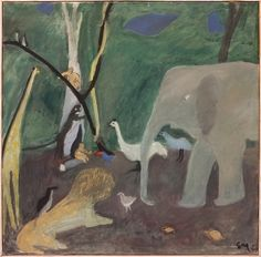 "Ernst Morgenthaler (Swiss, 1887–1962) Triptych "" Paradise"" (midsection) (Paradies-Triptychon, Mittelteil),1959 Tempera on canvas , 200 x 200 cm Kunstmuseum Thun, Swithzerland"