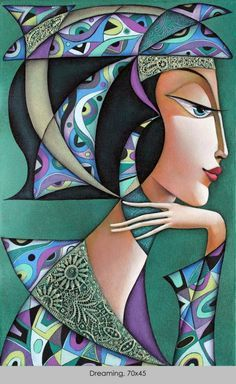 DesertRose~by Wlad Safronow, Ukranian artist, born 1965 in Kharkov, Ukraine. Arte Pop, Silk Painting, Painting & Drawing, Naive Art, Whimsical Art, Figurative Art, Female Art, Folk Art, Art Drawings