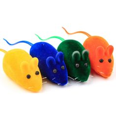 1 PC Flocking Pet Products Cat Toys Kitten Dog Puppy Playing Toy False Mouse Rat Squeak Noise Sound Toys Random Color 13.5x2.8cm