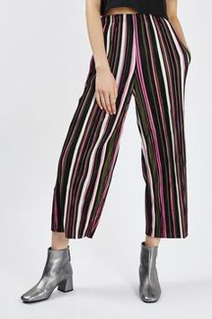 Multi Stripe Pleated Trousers