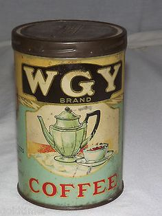 VINTAGE 1920S WGY FOOD PRODUCTS BRAND SCHENECTADY NY COFFEE TIN CAN