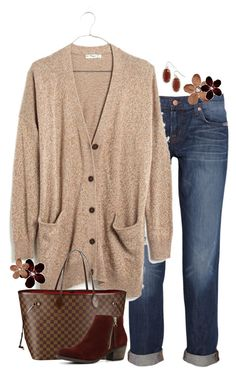 """New Madewell Cardigan"" by lmacouture ❤ liked on Polyvore featuring J Brand, Madewell, Louis Vuitton, ALDO and Kendra Scott"