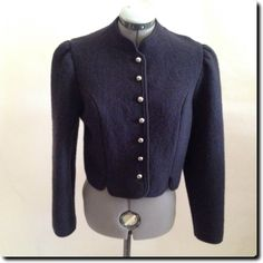 Giesswein Austrian  Tailored Navy Boiled Wool Jacket Cardigan Blazer Outerwear size 40 us 10