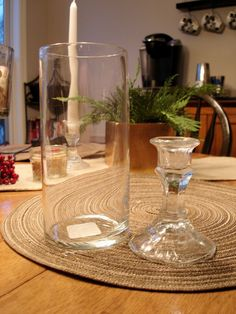 How to create hurricane vases from items found at the dollar store!  Pretty simple stuff!