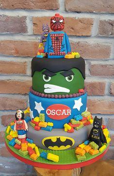 Superhero cake lego cake spiderman cake hulk cake