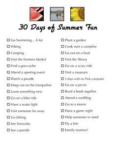 summer bucket list for kids