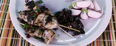 Baba Ganoush with Yogurt-Chicken Skewers (Michael Symon):  Chips and pita aren't the only tasty things to eat with your dip; try our Michael's easy-to-make Baba Ganoush and Chicken Skewers ASAP!