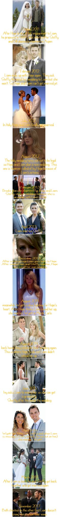 Over the past 7 years Hope-Liam-Steffy  |  Liam-Hope-Wyatt  |  Liam-Steffy-Wyatt have been triangling and there have been many wedding (attempts)