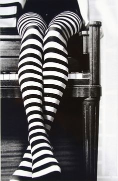 Black and white striped tights/leggings. Or knee high socks. I need a pair!