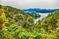 Qdiz Stock Photos | Mountains and lake landscape in Korea,  #autumn #cloud #cloudy #environment #green #Korea #korean #lake #landscape #mountain #nature #overcast #sky #South #trees #vacation #wallpaper #weather