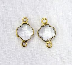 Crystal Quartz Clover Shape 9mm 24k Gold Plated Double Bail Gemstone Connector 1pc with FREE SHIPPING WORLD Wide by Sunrisegemstone on Etsy