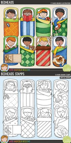 Bedheads digital scrapbooking elements   Cute slumber party boys / sleepover kids clip art   Hand-drawn doodles for digital scrapbooking, crafting and teaching resources from Kate Hadfield Designs! Click through to see projects created using these illustrations!