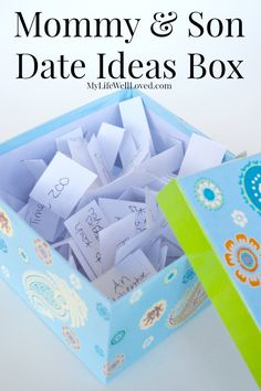 Mommy and Son Date Ideas gives you ideas on how to spend time with your son in a fun little box! Much like the date night jar but a box for kids!