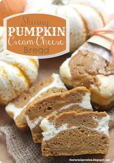 Recipe for Skinny Pumpkin Cream Cheese Bread - A delicious moist pumpkin cream cheese bread with half of the calories!