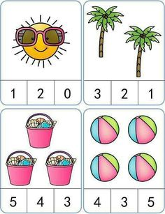 Summer Count and Clip Cards: numbers Kindergarten Math Worksheets, Preschool Learning Activities, Preschool Printables, Preschool Activities, Kindergarten Reading, Numbers Preschool, Math For Kids, Seesaw, Guided Reading