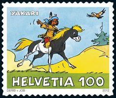 Swiss special stamp Yakari  https://sso.post.ch/shops/en/PhilaShop/Issue-of-22112012/The-little-Indian-boy-Yakari