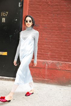 How to Wear: Slip Dresses Over Sweaters - Man Repeller