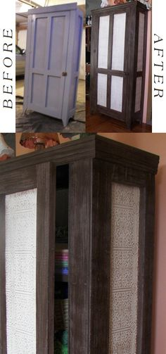 """An old hand crafted tin panel door cabinet. I took off the eighties bangs look """"crown"""" and replaced it with trim on front and sides. Added anaglypta wallpaper to tin panels. Painted the framework and crown to look like Wenge wood and antiqued the paper in the panels. ~BC"""
