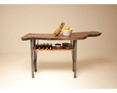 Reclaimed, Naturally Fallen Black Walnut and Blackened Steel Kitchen Island by Blake Avenue