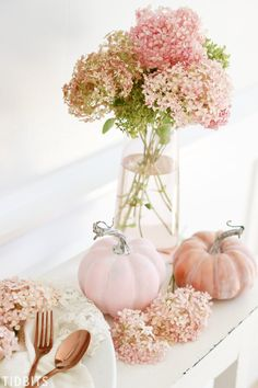 "Introducing this years TIDBITS Fall color scheme of blush pink and copper! Which according to my children, ""is way weird mom"". Oh, but I do love a challenge Pumkin Decoration, Decoration Christmas, Thanksgiving Decorations, Seasonal Decor, Autumn Decorations, Pumpkin Centerpieces, House Decorations, Pink Pumpkins, Fall Pumpkins"
