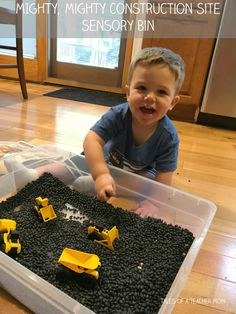 Mighty, Mighty Construction Site Sensory Bin - Tales of a Teacher Mom