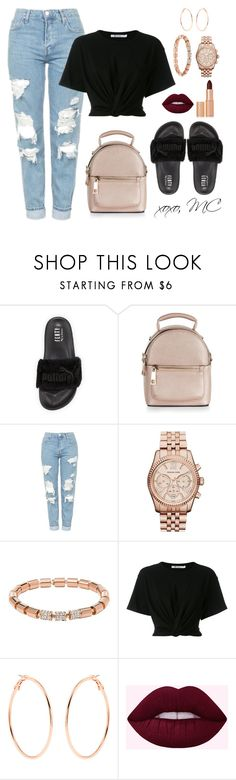 Fur slides casual outfit by micahmae24 ❤ liked on Polyvore featuring Puma, New Look, Topshop, Michael Kors, FOSSIL, T By Alexander Wang, Accessorize and Charlotte Tilbury