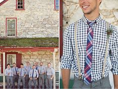 Who said you can't pair a plaid tie with a checkered shirt? These groomsmen show you that it can be done. Nice look for a barn inspired wedding.