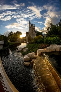Cinderella Castle at Sunset -- feeling homesick for my vacation spot away from home!!