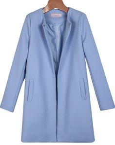 Blue Lapel Long Sleeve Pockets Coat 25.33 Sheinside