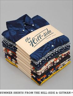 The Hill-Side makes men's clothing in USA & Japan. Scarf Packaging, Brand Packaging, Oysho Lingerie, Paper Bag Design, Men Dress Up, Branding Design, Logo Design, Clothing Packaging, Printed Bags