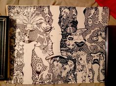 """Original Outsider Art Pen And Ink Unframed 18 X 24"""" Drawing Tubes Of Terror"""