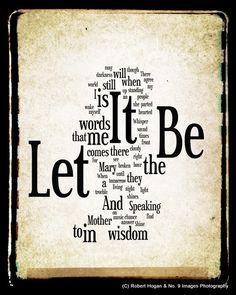 Let It Be Lyrics - The Beatles Word Art - Word Cloud Art Print - Gift Idea. $15.00, via Etsy.