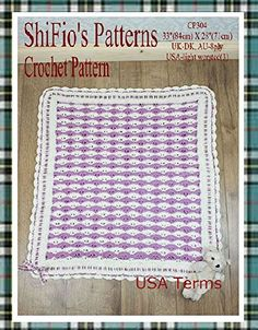"""Product review for crochet pattern - CP304 - baby afghan blanket - USA Terminology -  Sizes: -33"""" (84cm) x 28"""" (71cm) Requirements UK DK, AU 8ply yarn, USA Light worsted (3) Main Color (MC) cream 200g (7ozs) Contrast Color (CC) purple 180g (6.3ozs) Ribbon 13ft 1"""" (4m) of ½"""" (1.5cm) wide ribbon Crochet hook UK 3.5mm, USA E Gauge – Using above yarn and hook, 9dc x 4 rows to... -  http://www.bestselleroutlet.net/product-review-for-crochet-pattern-cp304-baby-afgh"""