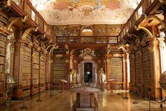 It's World Library Wednesday! This is the Melk Monastery Library in Melk, Austria. It was completed in 1736 and was designed by Jakob Prandtauer. The library is famous for the near volumes of. Melk Austria, Wachau Valley, World Library, Beautiful Library, Dream Library, Children's Library, College Library, Classical Education, World's Most Beautiful