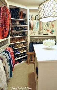 Honey We're Home - closets - closet island, closet chandelier, shoe shelves, corner shoe shelf