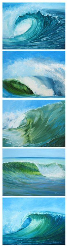"Original Oil Painting - Curling Wave series 3, 12""x16"" (surf art, sunrise). $280.00, via Etsy."