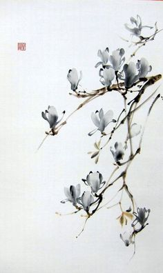 Magnolia Floral de Suibokuga encre Peinture Sumi-e par Suibokuga