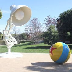 Pin for Later: 27 Magical Facts About Pixar Finally, you can't leave campus without taking a picture of the life-size Pixar logo. Pixar Facts, Inspektor Gadget, Movie Inside Out, Pixar Characters, Facts You Didnt Know, Thing 1, Outdoor Sculpture, Heart For Kids, City Art