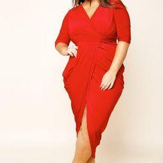 Wrap Style Hi Lo Plus Size Midi Dress-RED