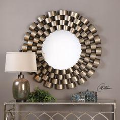 """Taurion Silver Leaf Round Mirror 47""""x47""""x2"""""""
